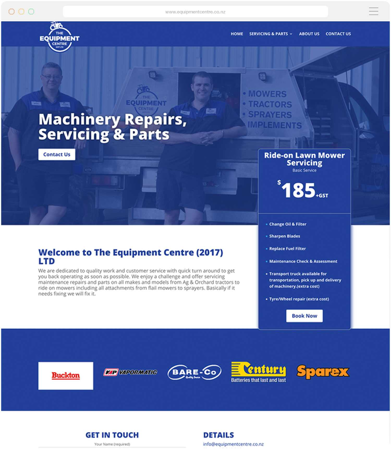 Tauranga Website Design for the Equipment Centre