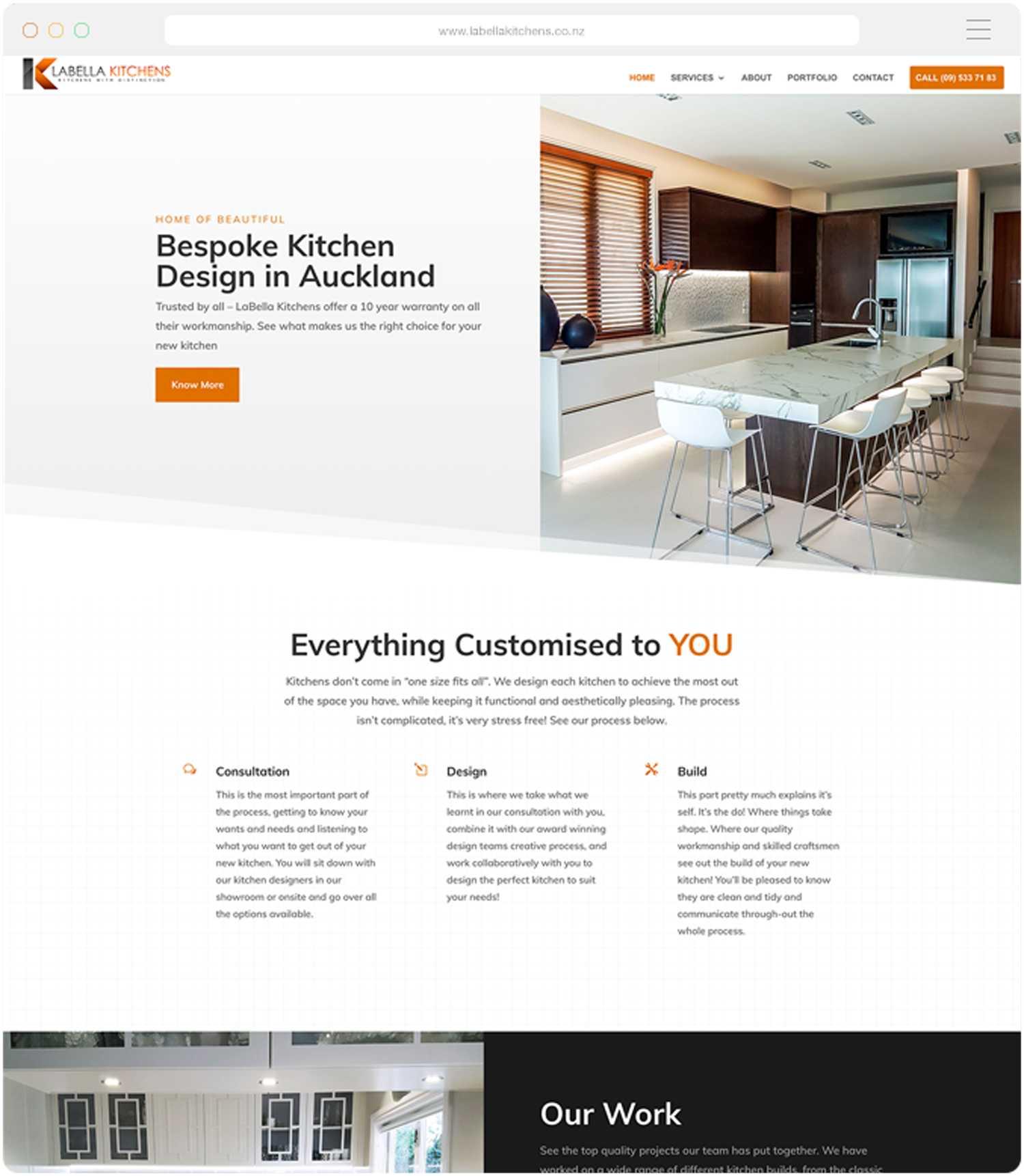 Website design and build for Labella Kitchens